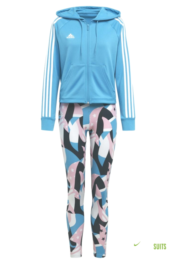 Womens adidas Blue Hoody And Tight Tracksuit Blue | Track